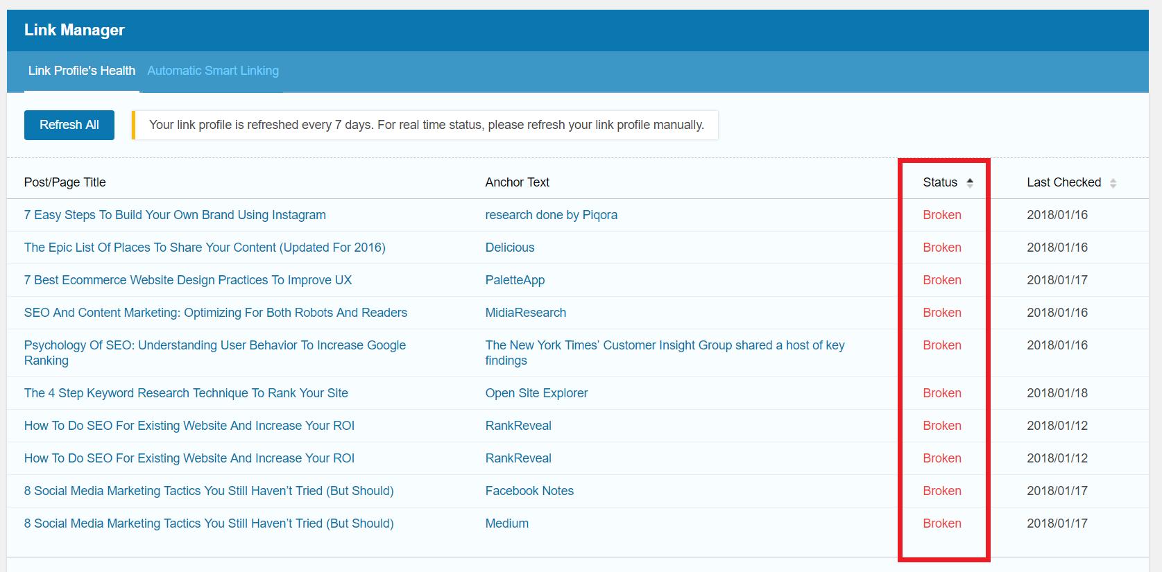 SEOPressor Smart Link Manager broken link status