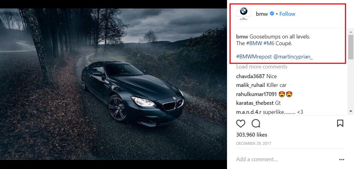 BMW Instagram post