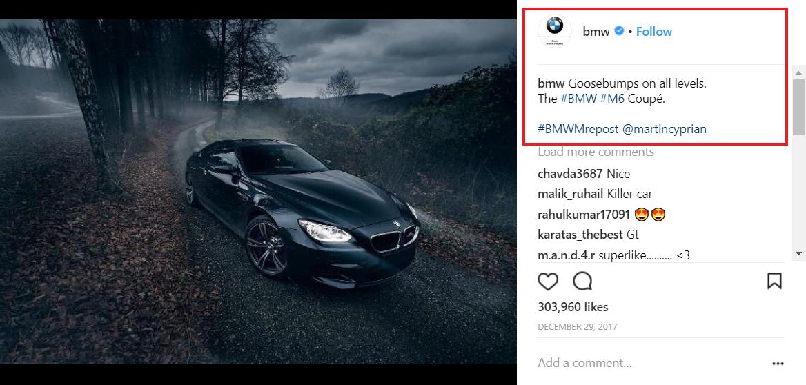 BMW Instagram post