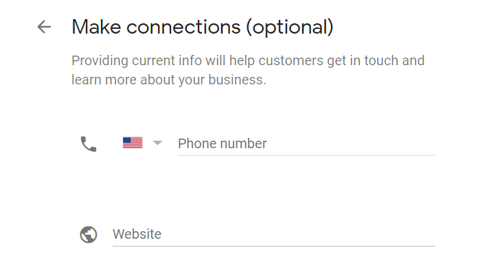 google my business phone number and website