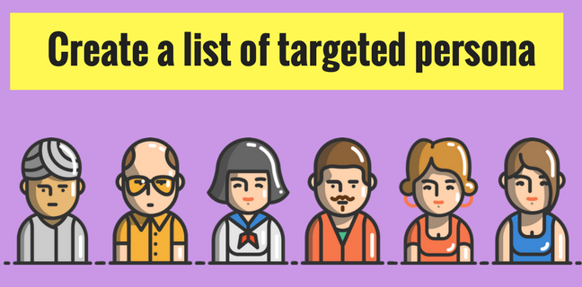 List of targeted persona as potential customer of startup