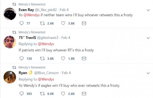 Wendy's retweeting and promoting tweet