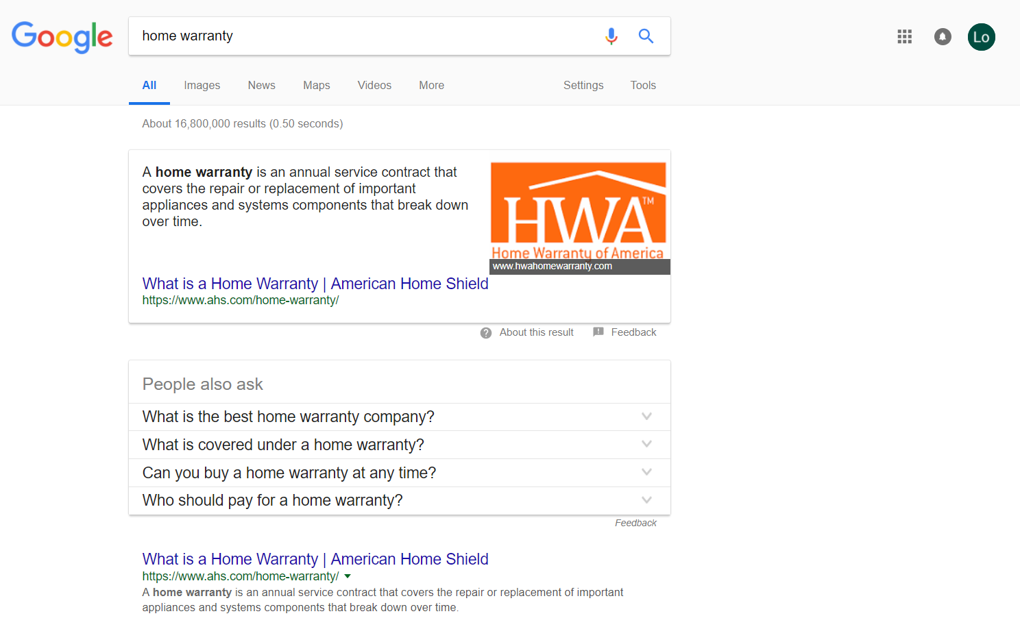 ahs home warranty company 1st spot on serp
