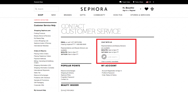 sephora - live chat powered by artificial intelligence