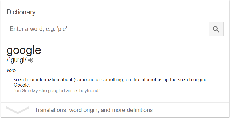 google as a verb