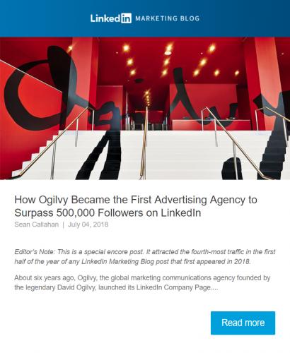 newsletter from linkedin marketing blog
