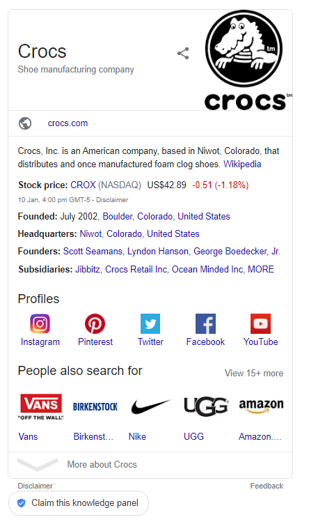 Crocs Knowledge Graph