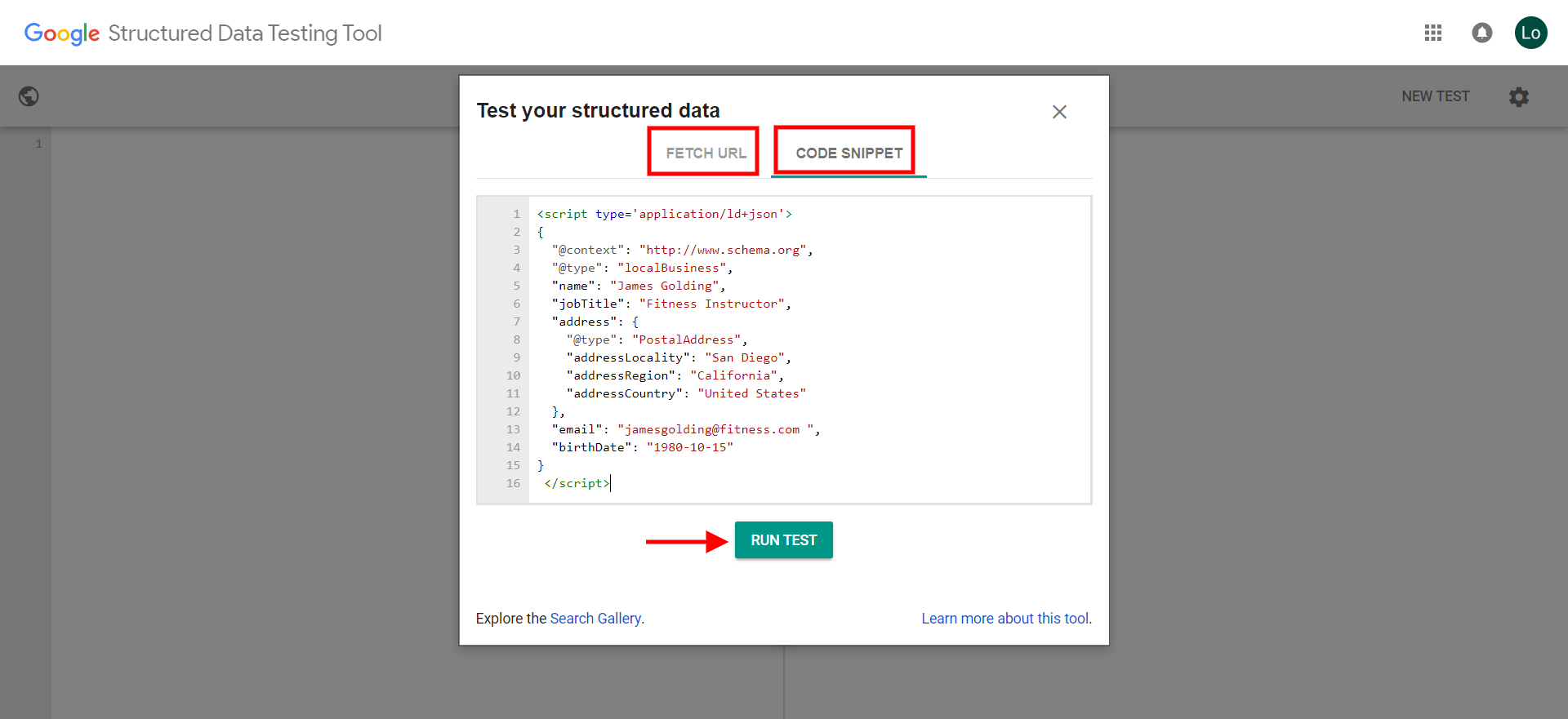 Google Sturctured Data Testing Tool 2