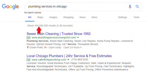 Plumbing services in Chicago search query on Google