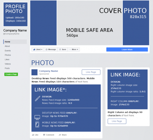 Facebook image dimensions cheat sheet