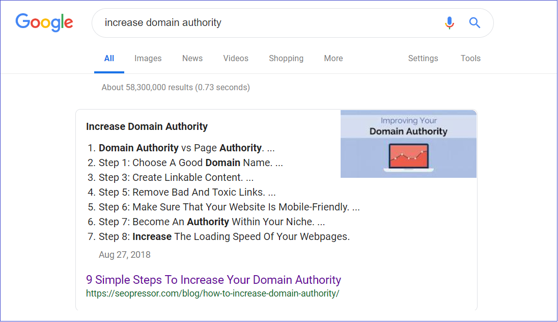 increase domain authority keyword internal link