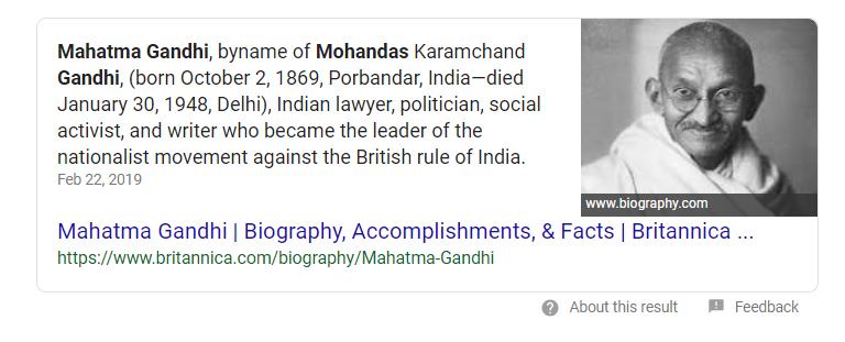 Mahatma Ghandi Position zero
