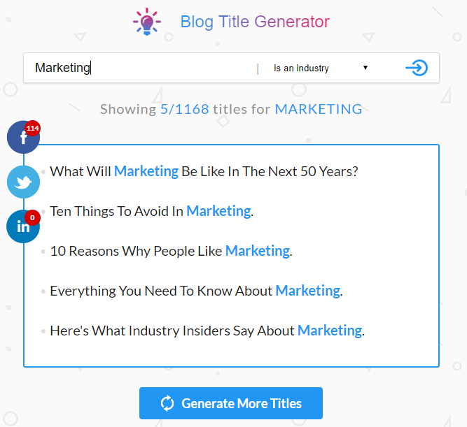 Blog Title Generator results page
