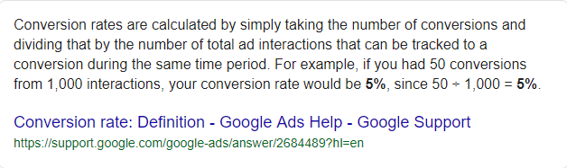 Conversion rate formula - Google Search featured snippet