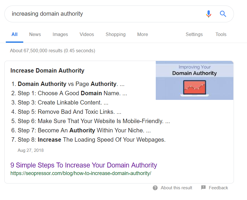 Increasing domain authority position 0