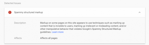 Google Penalty Spammy Markups