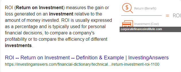 return on investment - Google Search featured snippets