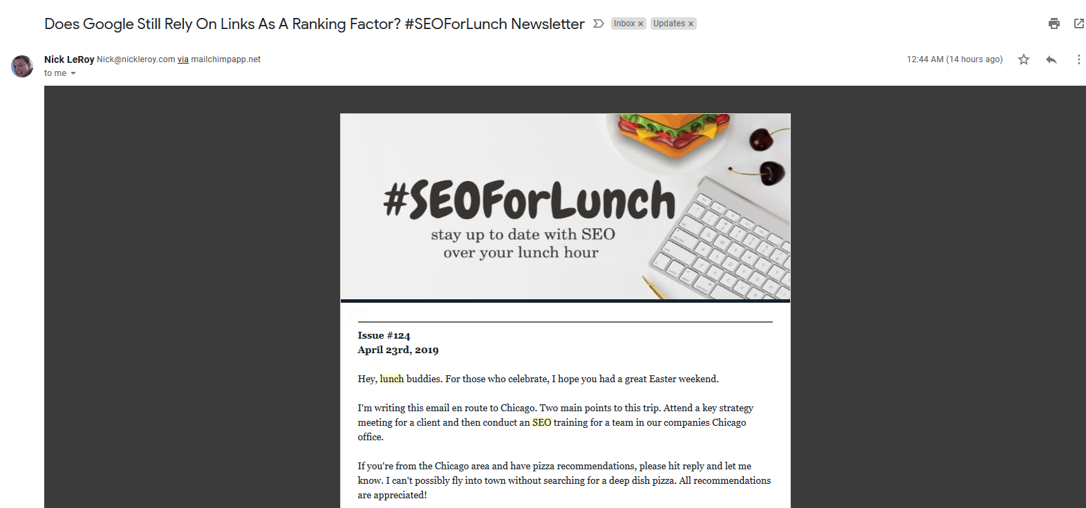 SEO for lunch