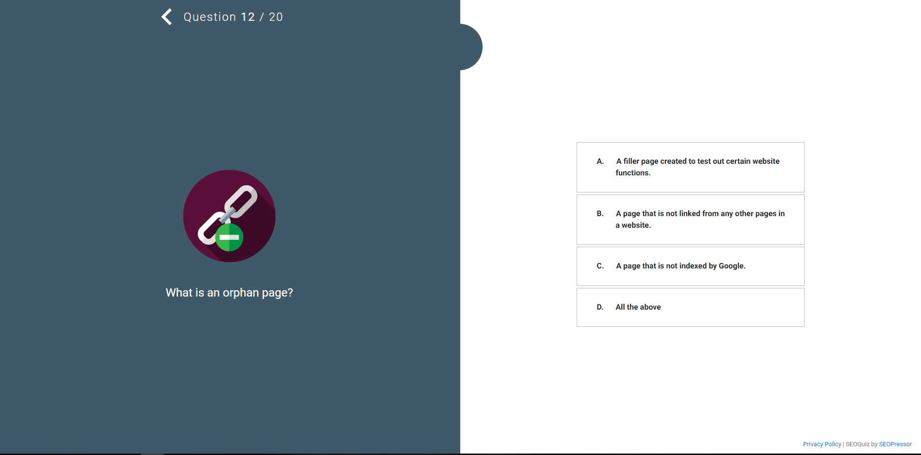 SEOPressor Interactive Quiz Question