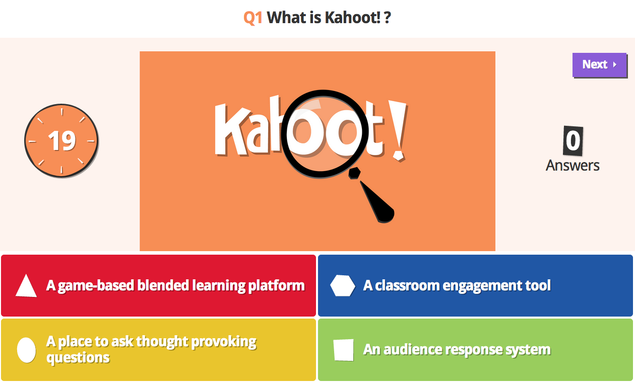 Interactive quiz kahoot question