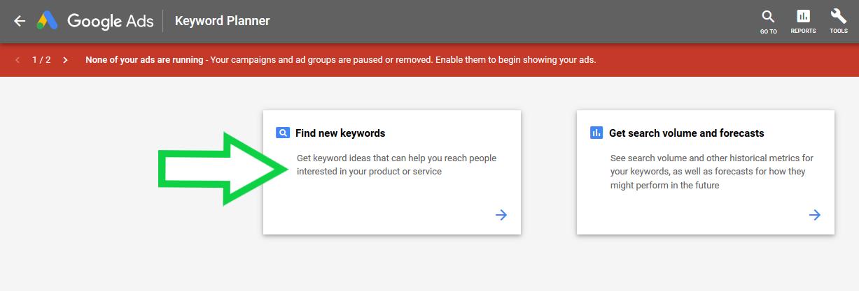 Google Ads keyword planner main menu.