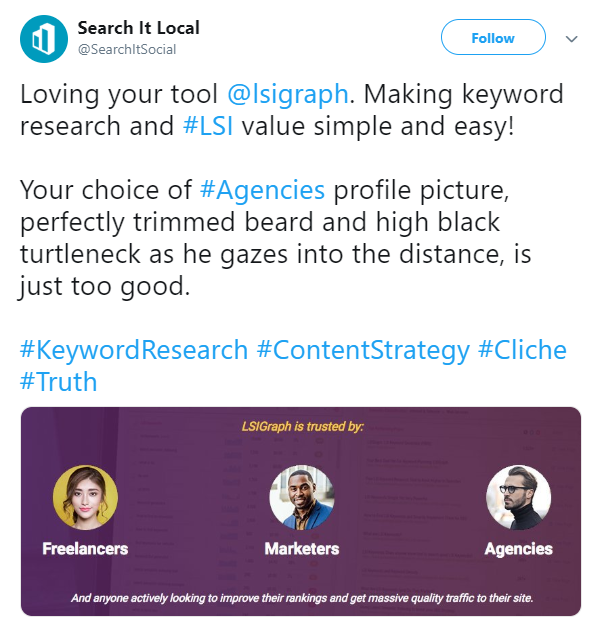 Twitter testimonials on LSIGraph tool