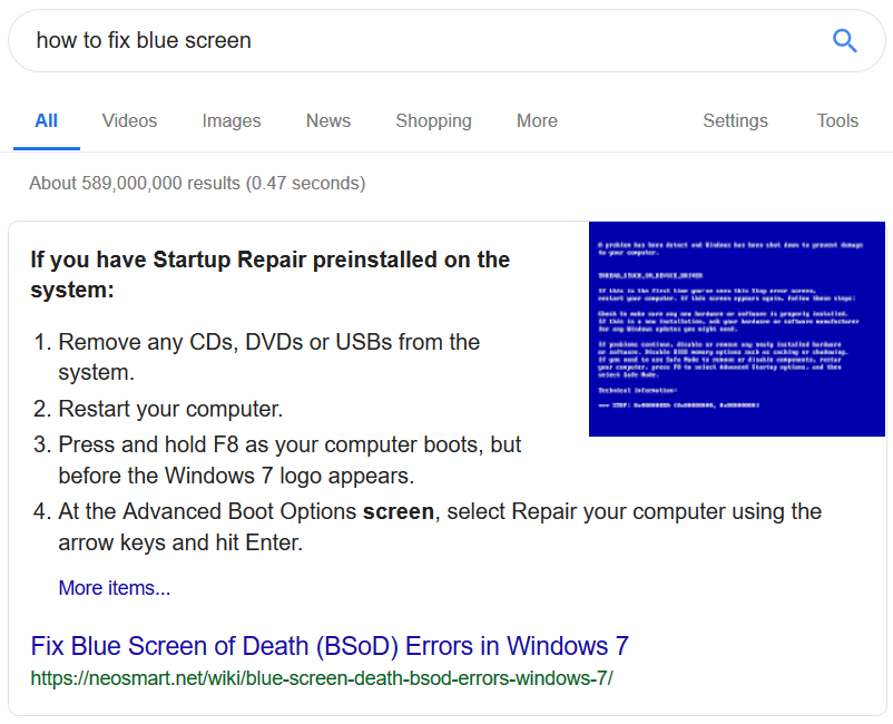 Example of featured snippet with list.