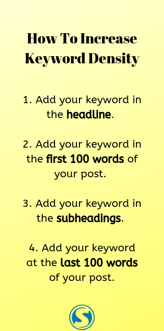 List of how to increase keyword density.