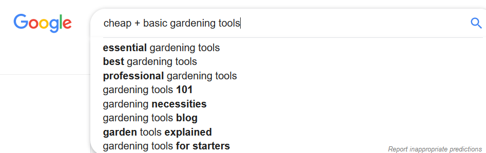 autocomplete suggestions