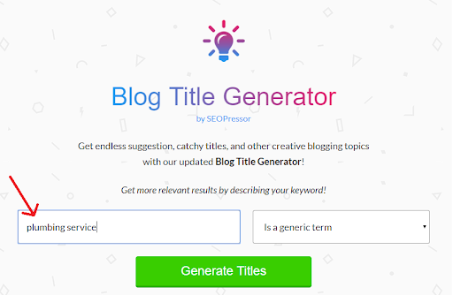 Blog Title Generator Homepage