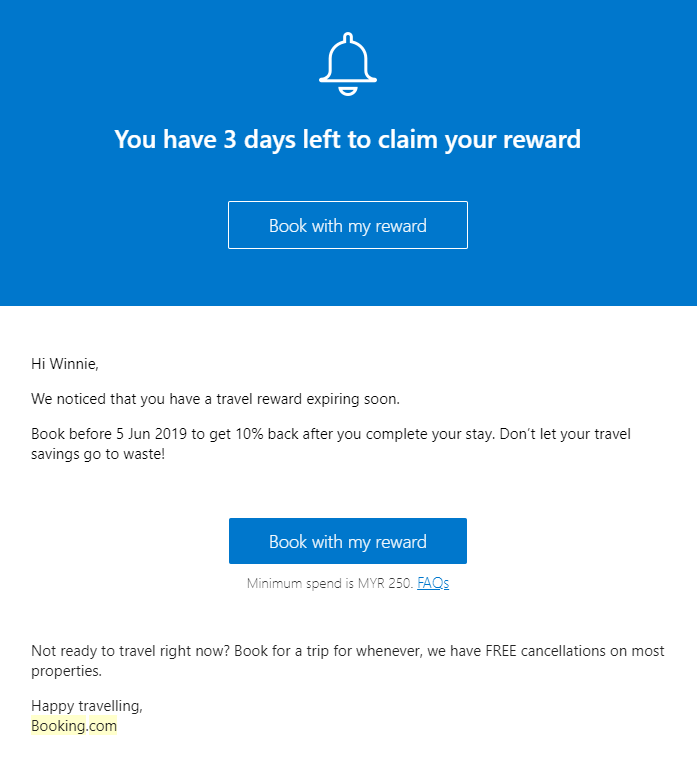Conversion email marketing strategy from booking.com