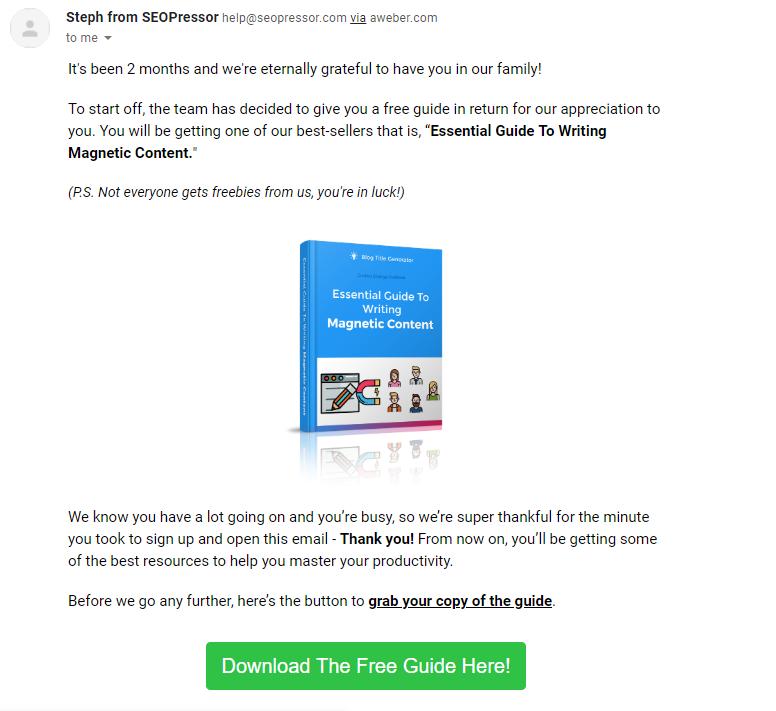 Customer re-engagement emails SEOPressor