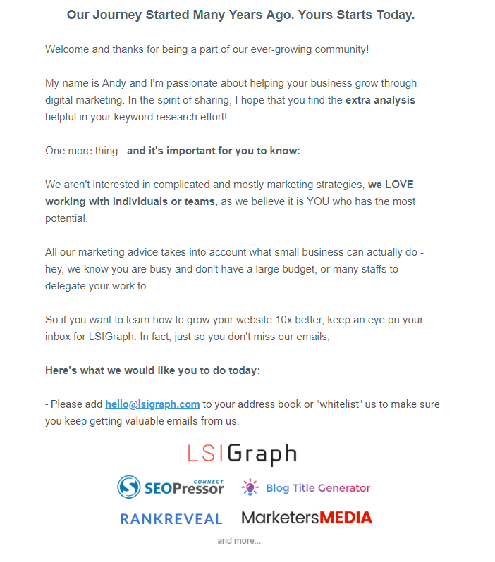 LSIGraph welcome email marketing