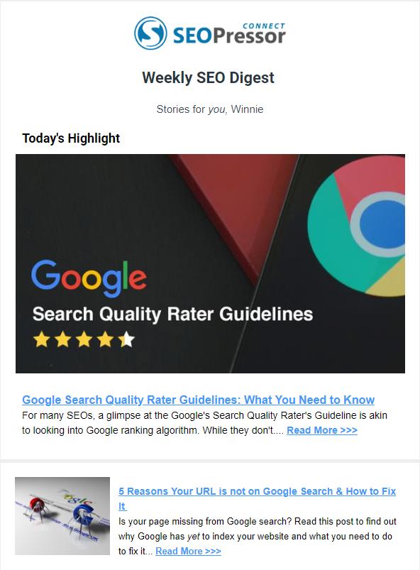 Weekly SEO Digest SEOPressor loyalty email