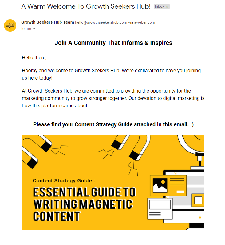 Welcome emails Growth Seekers Hub