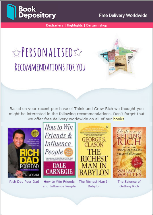 Book Depository Recommendation Email Marketing