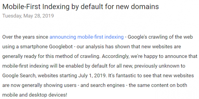 Google announced that mobile-first indexing will be enabled by default.