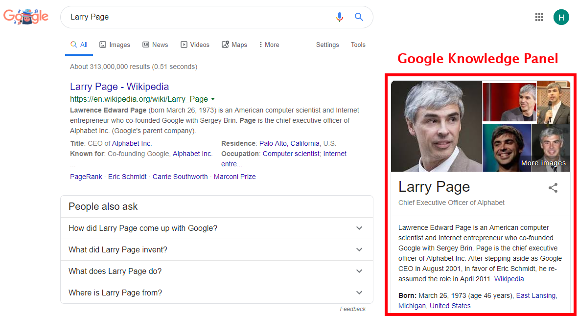 Larry Page's Knowledge Panel