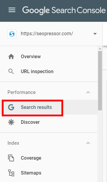 Google Search Console - Search results