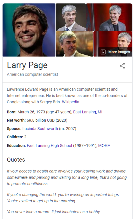 Google knowledge panel larry page
