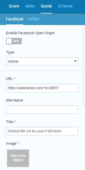 SEOPressor's Social meta tags