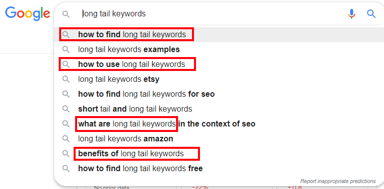 Long Tail Keywords Headings