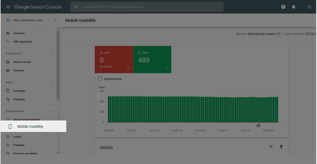 Screeenshot of Google Search Console UI with the moile usability tab highlighted