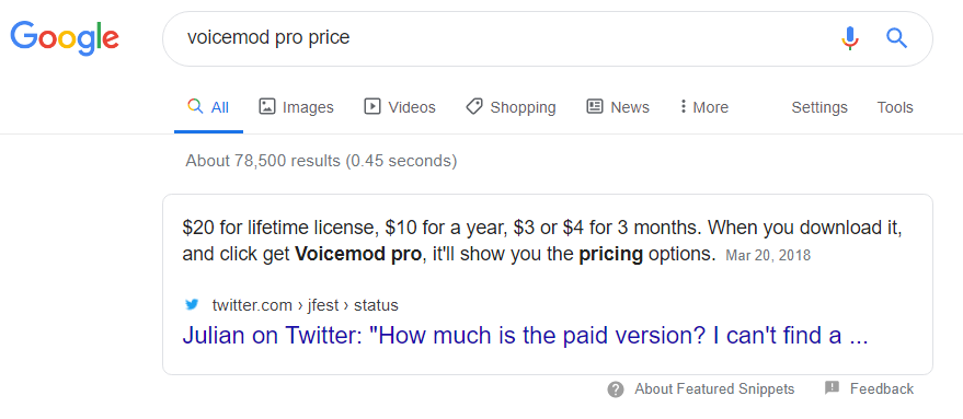 Tweets in Featured Snippet