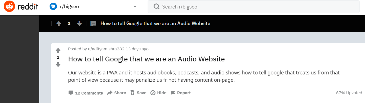 Reddit - How to tell Google that we are an Audio Website