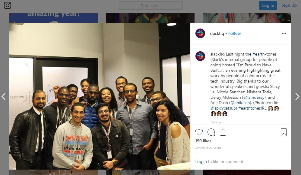 Slack's Instagram