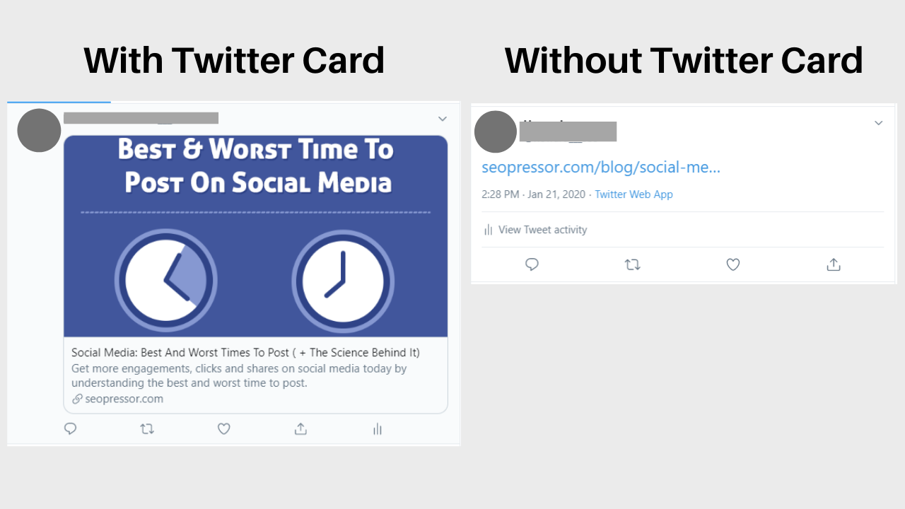 With and without Twitter Card