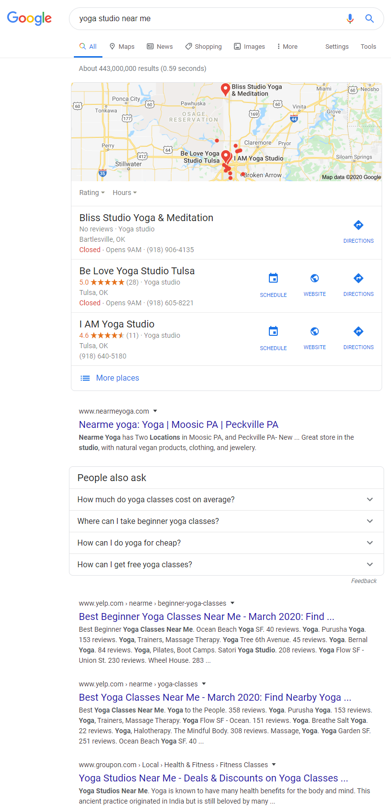 Google Search - Yoga Studio Near Me
