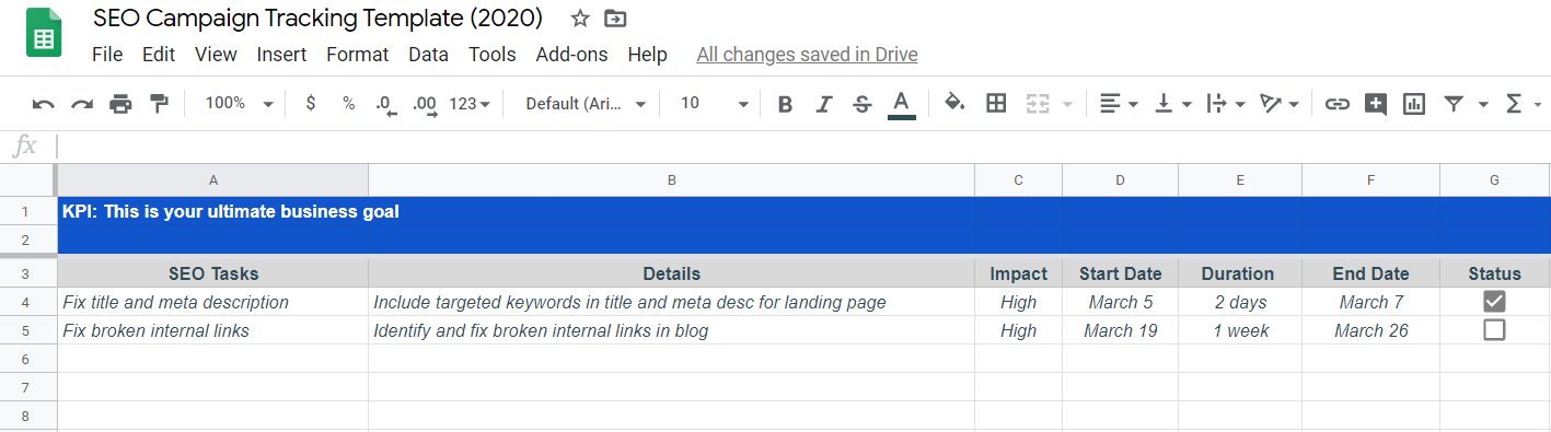 SEO Campaign Tracking Template