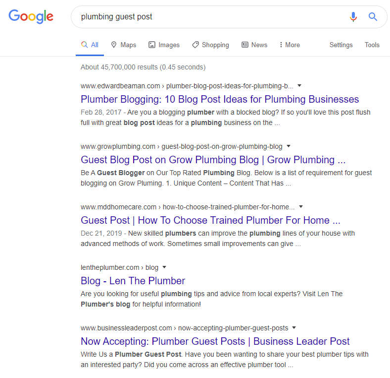 "Google Search - ""Plumbing Guest Post"""